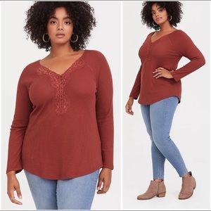 Torrid waffle knit lace trim Henley red/orange 00